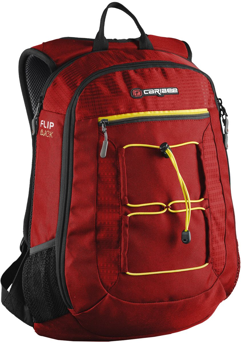 """Caribee Рюкзак Flip Back цвет красный72523WDFlipback от компании Caribee объемом 26 литров - это компактный и стильный рюкзак с тонким профилем (Slim Line), возможностью транспортировки ноутбука с диагональю экрана до 15.4 и улучшенной защитой вашего лэптопа посредством амортизирующей перегородки EVA Shock Guard Protection. Модель изготовлена из высококачественного, износостойкого полиэстера, гибкого, легкого и прочного материала устойчивого к перепадам температуры и влиянию света, не впитывающего влагу и не разрушающегося под негативным действием ультрафиолетового излучения. Мягкий чехол для ноутбука с диагональю 15,4"""". Два основных отделения на молнии. Встроенный органайзер во внешнем кармане. Вмещает документы формата А4. Регулируемый грудной ремень. Боковые сетчатые карманы для бутылок.Объем: 26 л.Размер: 48 х 35 х 15 см."""