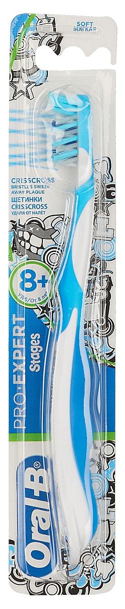 Oral-B Детская зубная щетка Pro-Expert Stages от 8 лет мягкая цвет голубой3014260278342_голубойДетская зубная щетка Oral-B Pro-Expert разработана для детей старше 8 лет, у которых происходит смена молочных зубов.Преимущества зубной щетки: головка с мягким покрытием, чтобы помочь защитить нежные десны ребенка; перекрещивающиеся щетинки Crisscross, которые помогают удалять налет в труднодоступных местах между зубами; поверхность для чистки языка, предназначена для свежего дыхания и уверенной улыбки; эргономичная ручка, которую удобно держать, помогает ребенку чистить зубы.Товар сертифицирован.