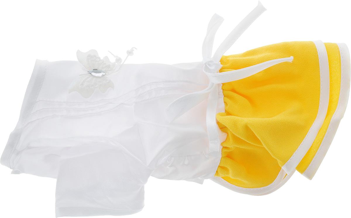 Платье для собак Pret-a-Pet Летнее ассорти, цвет: белый, желтый. Размер LMOS-022-L_белый, желтыйПлатье для собак Pret-a-Pet Летнее ассорти выполнено из высококачественного текстиля и оформлено надписью PretaPet. Короткие рукава не ограничивают свободу движений, и собачка будет чувствовать себя в ней комфортно. Изделие застегивается с помощью кнопок на животе, а также дополнительно имеет завязки на спинке.Модное и невероятно удобное платье защитит вашего питомца от пыли и насекомых на улице, согреет дома или на даче. К платью прилагаются запасные кнопки.