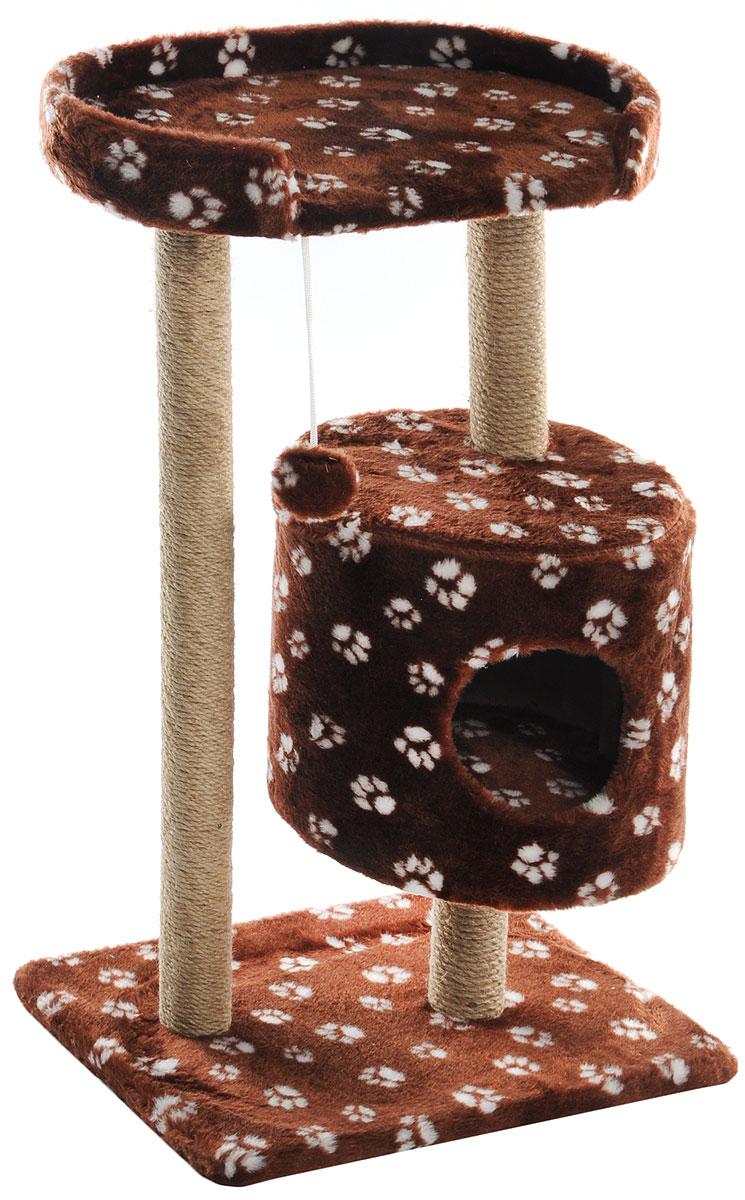 Домик-когтеточка Меридиан, круглый, с площадкой, цвет: коричневый, белый, 52 х 52 х 105 смД517Ла_коричневый, белые лапкиДомик-когтеточка Меридиан выполнен из высококачественного ДВП и ДСП и обтянут искусственным мехом. Изделие предназначено для кошек. Ваш домашний питомец будет с удовольствием точить когти о специальные столбики, обмотанные джутом. А отдохнуть он сможет либо на полке, либо в домике. Изделие снабжено подвесной игрушкой. Домик-когтеточка Меридиан принесет пользу не только вашему питомцу, но и вам, так как он сохранит мебель от когтей и шерсти.Общий размер: 52 х 52 х 105 см.Размер домика: 35 х 35 х 32 см.Размер полки: 51 х 29 см.