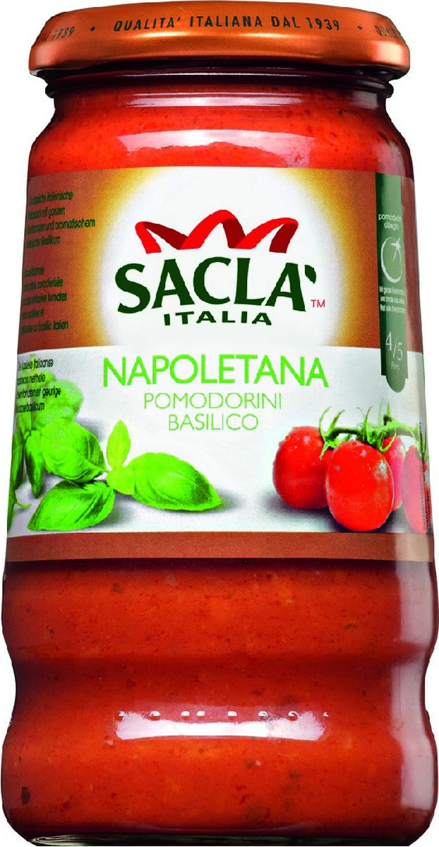 Sacla Napoletana Pomodorini Basilico с цельными томатами Черри и базиликом соус Неаполетана, 420 г24Соус с цельными томатами черри и сыром пармезан.