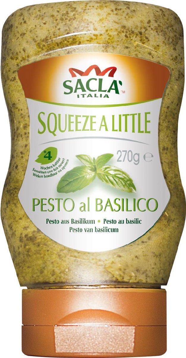 Sacla Pesto al Basilico из базилика песто-соус (топ-даун), 270 г250252Соус SACLA Песто Томатный с базиликом – это превосходный деликатесный продукт, который станет отличным дополнением к мясным, рыбным и овощным блюдам. Имеет насыщенный вкус орешков кешью, ароматного сыра с яркими нотками базилика. Необычный соус зеленого цвета украсит любой праздничный и повседневный стол. Прекрасно подойдет для приготовления оригинальных канапе и бутербродов, а также для запекания различных продуктов. Имеет в меру густую консистенцию. Применение: просто добавьте ложку соуса макароны и перемешайте. Этот соус также подходит к мясу, рыбе и овощам.