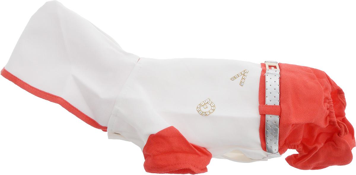 Комбинезон для собак Pret-a-Pet, цвет: белый, красный. Размер XSMOS-019-XSКомбинезон с капюшоном для собак Pret-a-Pet выполнен из высококачественного текстиля. Короткие рукава не ограничивают свободу движений, и собачка будет чувствовать себя в нем комфортно. Комбинезон застегивается с помощью кнопок. Изделие оформлено стразами и декоративным ремешком. Края комбинезона около задних лап дополнены вшитыми резинками. Длина спины: 19-21 см, объем груди: 26-28 см.