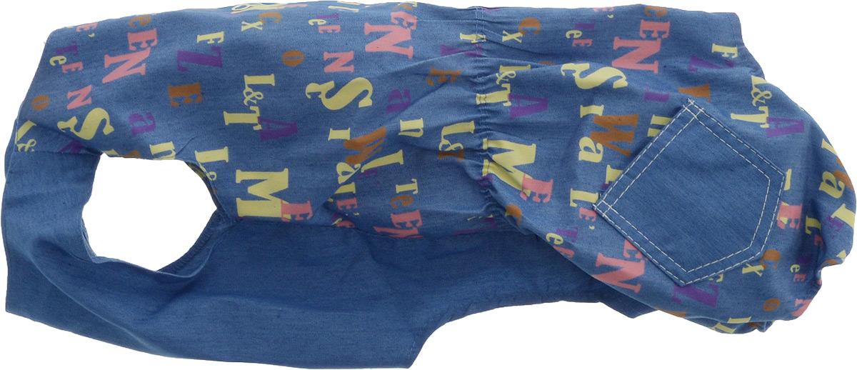 Комбинезон для собак Yoriki Алфавит, для мальчика. Размер XL0120710Комбинезон для собак Yoriki Алфавит выполнен из высококачественного материала с оригинальным принтом. Комбинезон застегивается с помощью кнопок. Изделие оформлено накладными кармашками и вшитой резинкой на пояснице. Длина спины: 32 см.