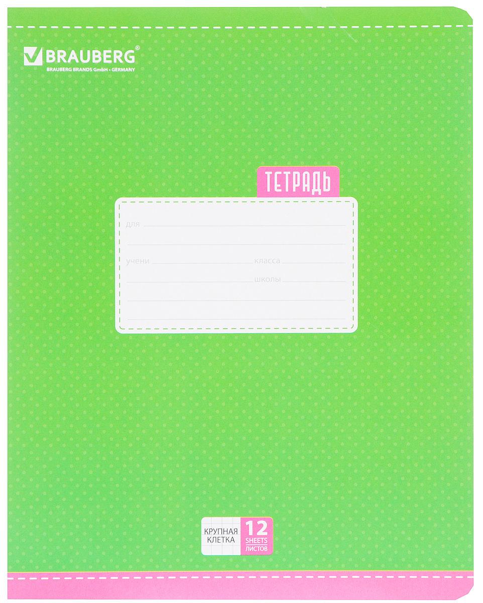 Brauberg Тетрадь Dots 12 листов в крупную клетку цвет зеленый103031_зеленыйОбложка тетради Brauberg Dots с закругленными углами выполнена из плотного картона, что позволит сохранить ее в аккуратном состоянии на протяжении всего времени использования. На задней обложке находятся меры длины, меры объема, меры массы, меры площади и таблица умножения.Внутренний блок тетради, соединенный двумя металлическими скрепками, состоит из 12 листов белой бумаги. Стандартная линовка в крупную клетку голубого цвета дополнена полями.
