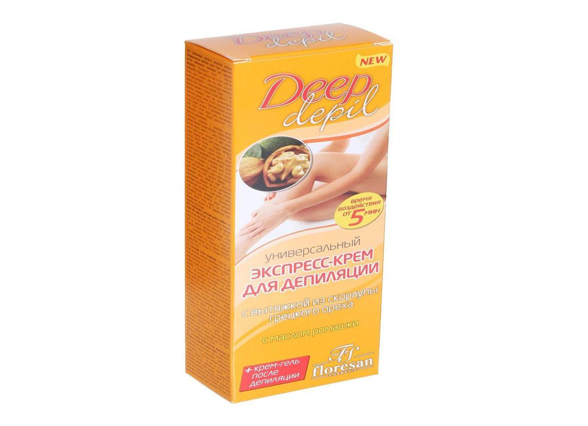 Floresan Deep Depil Универсальный экспресс-крем для депиляции с вытяжкой из скорлупы грецкого ореха, 75 мл