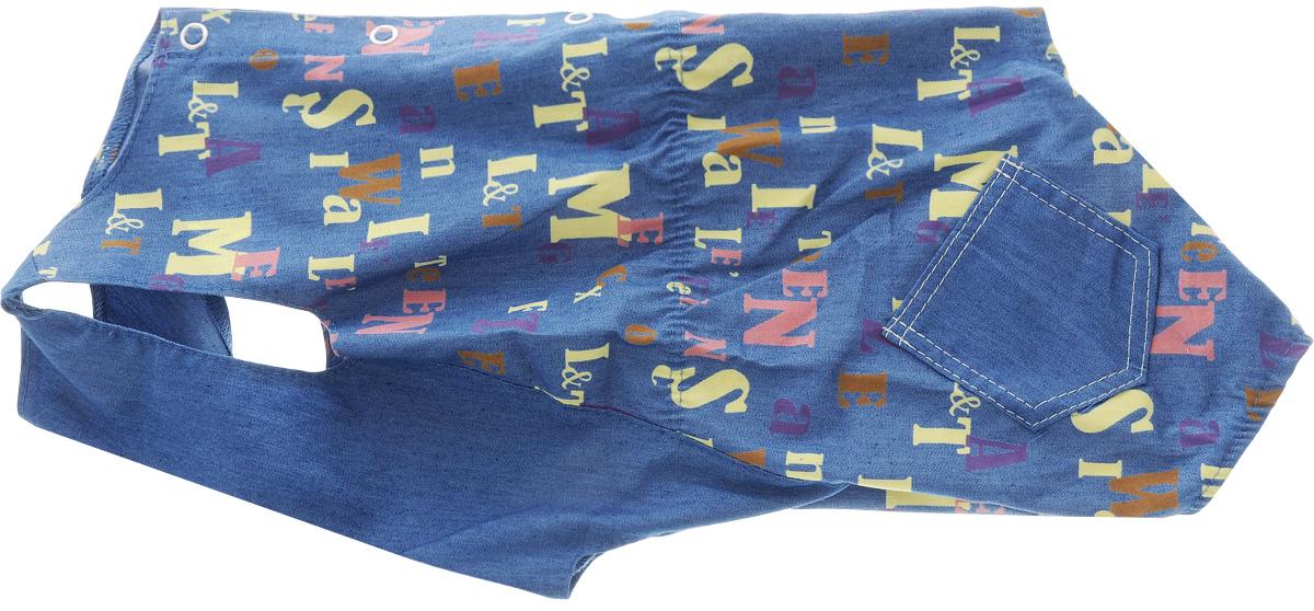 Комбинезон для собак Yoriki Алфавит, для мальчика. Размер L12171996Комбинезон для собак Yoriki Алфавит выполнен из высококачественного материала с оригинальным принтом. Комбинезон застегивается с помощью кнопок. Изделие оформлено накладными кармашками и вшитой резинкой на пояснице. Длина спины: 28 см.