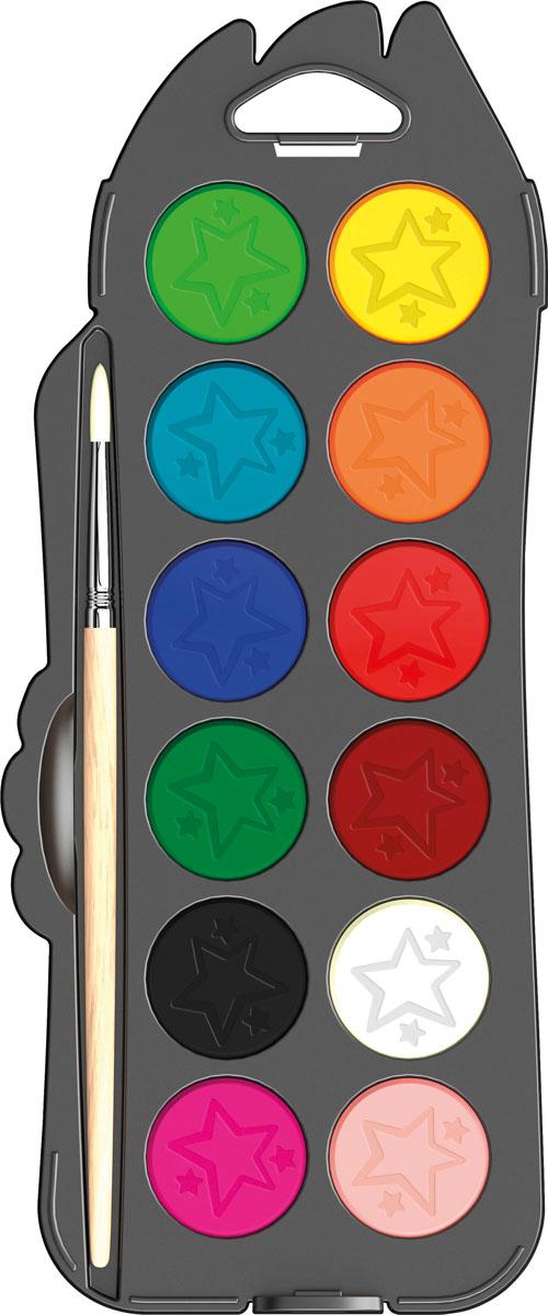 Maped Акварель ColorpepS с кисточкой 12 цветов811520COLORPEPS Акварельные краски с кисточкой в комплекте, 12 цветов, пластиковый футляр с подвесом Отличный размер для удобного и надежного храненияБыстро разводятся водойПросто очистить: небьющийся пластиковый бокс со съемной крышкойДиаметр 30 ммСинтетическая кисточка в комплекте