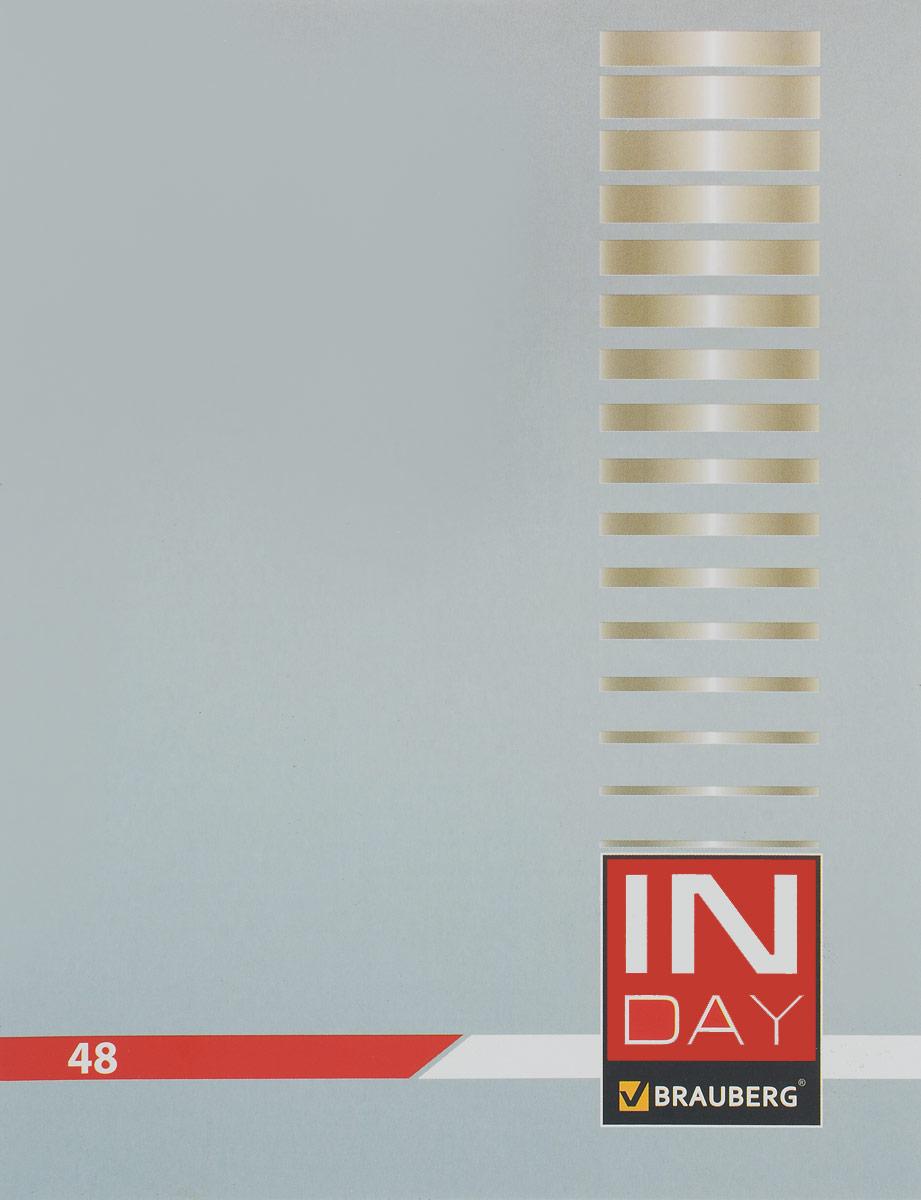 Brauberg Тетрадь In Day 48 листов в клетку цвет серый 40051872523WDТетрадь Brauberg In Day на металлических скрепках пригодится как школьнику, так и студенту.Обложка изготовлена из плотного картона. Внутренний блок выполнен из белой бумаги в стандартную клетку с полями. Тетрадь содержит 48 листов.