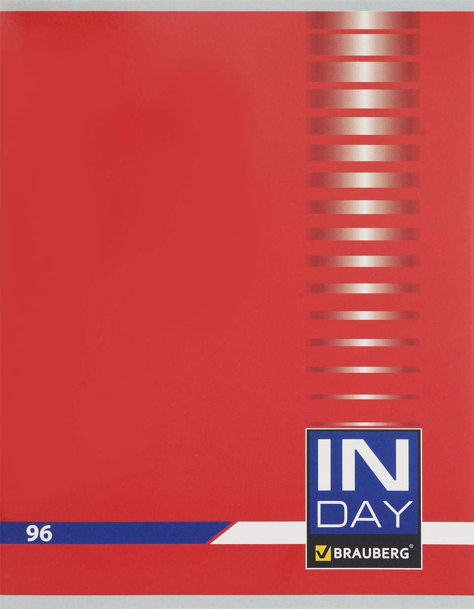 Brauberg Тетрадь In Day 96 листов в клетку цвет красный 400522400524_серыйТетрадь Brauberg In Day на металлических скрепках пригодится как школьнику, так и студенту.Обложка изготовлена из плотного картона. Внутренний блок выполнен из белой бумаги в стандартную клетку с полями. Тетрадь содержит 96 листов.
