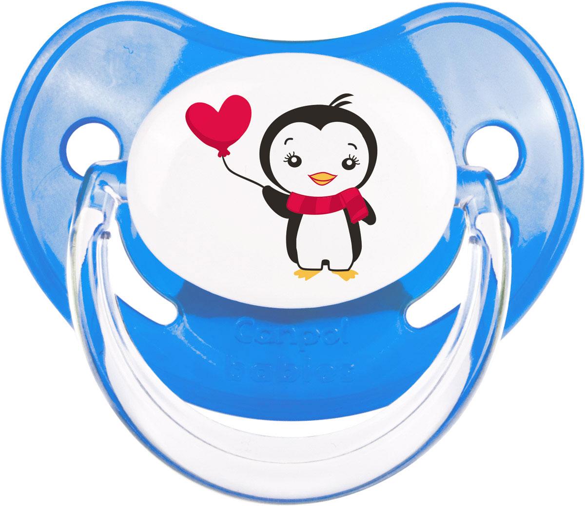 Canpol Babies Пустышка латексная ортодонтическая Penguins от 0 до 6 месяцев цвет синий