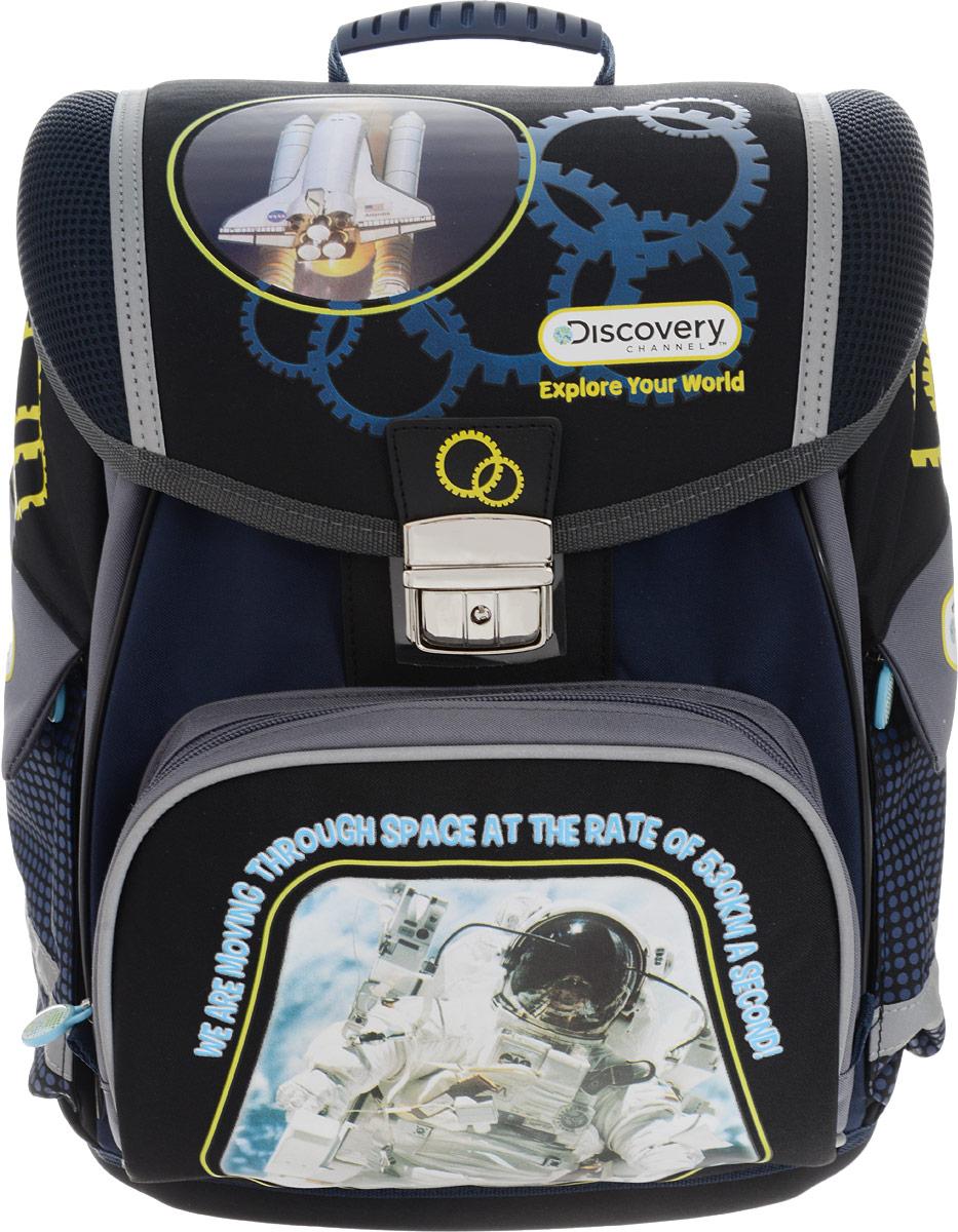 Action! Ранец школьный Discovery РакетаDV-ASB2019/2Ранец Action! Discovery Ракета станет для вашего ребенка надежным спутником в получении знаний.Ранец содержит одно вместительное отделение и закрывается клапаном на защелку.На внутренней части клапана ранца находится пластиковый кармашек, в который можно поместить расписание уроков и личные данные владельца.Внутри отделения расположены два разделителя с утягивающей резинкой, предназначенные для размещения предметов без сложения, размером до формата А4 включительно.На лицевой стороне ранца расположен накладной карман на застежке-молнии, а также имеется карман под клапаном, фиксирующийся хлястиком на липучке. По бокам ранца размещены два дополнительных кармана на молниях. Ранец оснащен ручкой для удобной переноски в руке или для подвешивания на крючок.Ортопедическая спинка, созданная по специальной технологии из дышащего материала, равномерно распределяет нагрузку на плечевые суставы и спину. Дно изделия дополнено пластиковыми ножками. Светоотражающие элементы не оставят незамеченным вашего ребенка в темное время суток.Вес ранца около 1190 грамм, что соответствует рекомендованным европейским нормам нагрузки на спину школьника средней школы.В комплекте имеется чехол для защиты от дождя флуоресцентного цвета (чтобы хорошо было видно в ненастную погоду).