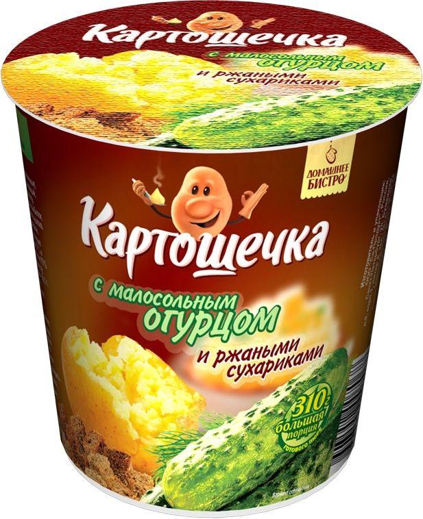 Картошечка Пюре картофельное с ржаными сухариками и малосольным огруцом, 50 г