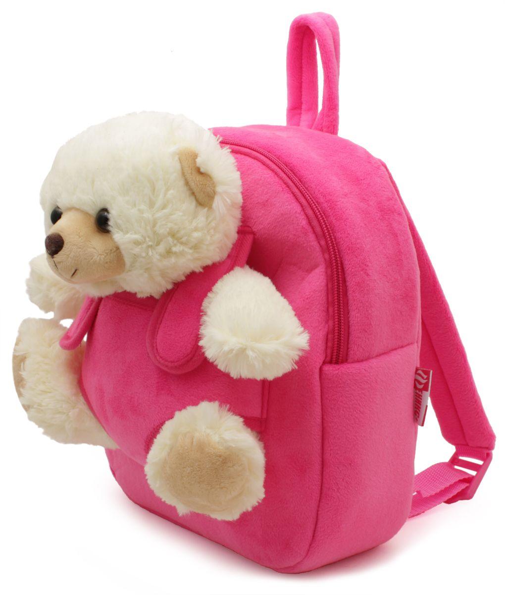 Феникс+ Рюкзак детский Белый мишка цвет розовый72523WDРазмер: 26 x 21 x 8,5 см.Материал: полиэстер.Съемная игрушка.