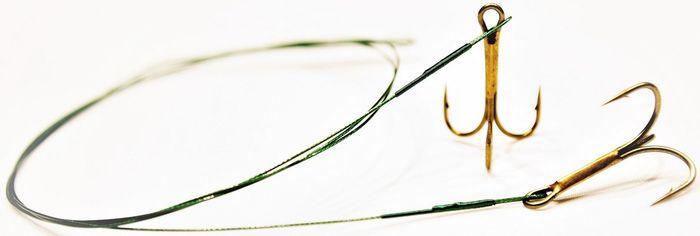 Набор поводков Atemi, с тройником №1, цвет: зеленый. 605-203014271825Тройник в сборе со стальным поводком в оплетке, используется для оснащения снастей для ловли хищника на живца
