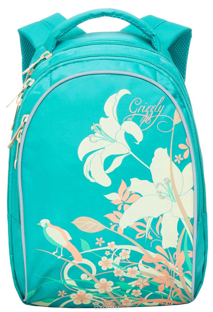Grizzly Рюкзак детский цвет бирюзовый72523WDШкольный рюкзак Grizzly - это красивый и удобный рюкзак, который подойдет всем, кто хочет разнообразить свои школьные будни. Рюкзак выполнен из плотного материала и оформлен оригинальным принтом с цветами. Рюкзак имеет два основных отделения на молнии. Самое большое отделение имеет накладной карман на молнии. Спереди на рюкзаке располагается внешний карман на молнии, содержащий органайзер для школьных принадлежностей. Бегунки застежки-молнии дополнены удобными металлическими держателями с логотипом Grizzly. Рюкзак также оснащен удобной ручкой для переноски и светоотражающими элементами в виде бабочек по бокам.Широкие регулируемые лямки со светоотражающими вставками и сетчатые мягкие вставки на спинке рюкзака предохранят мышцы спины ребенка от перенапряжения при длительном ношении. Многофункциональный школьный рюкзак станет незаменимым спутником вашего ребенка в походах за знаниями.