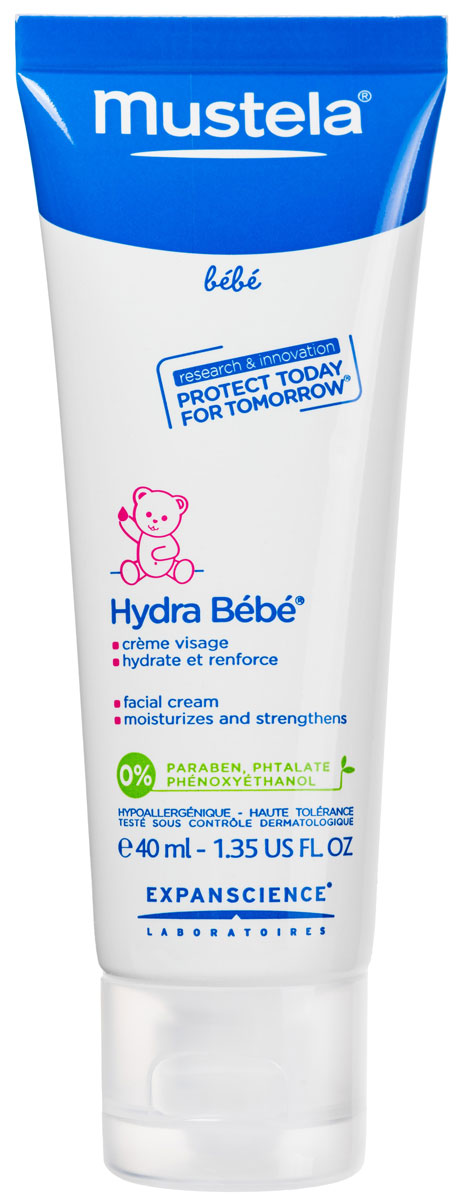 Mustela Крем для лица увлажняющий Hydra-Bebe детский, 40 млМ215/305Назначение: Крем для лица увлажняющий для ухода за детской кожей с рождения. Разработано для минимизации рискааллергических реакций.Свойства: Запатентованный природный компонент Avocado Perseose® способствует укреплению кожного барьера малыша и сохранению клеточных ресурсов его кожи. Способствует быстрому увлажнениюкожи, сохраняя эффект увлажненностинадолго. Оставляет кожу шелковистой, гладкой иочень мягкой. Способствует укреплению кожи малышакаждый день.Приоритет отдается ингредиентам природного происхождения.Инструкция по использованию: Наносите крем утром и вечером на лицо малыша.