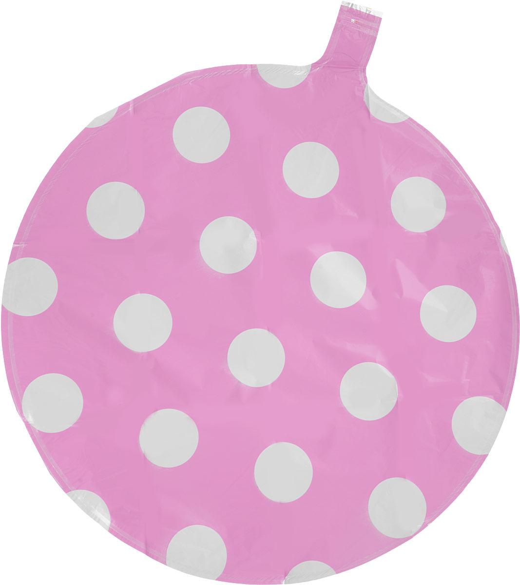 Sima-land Шар воздушный Круг цвет светло-розовый в белый горох