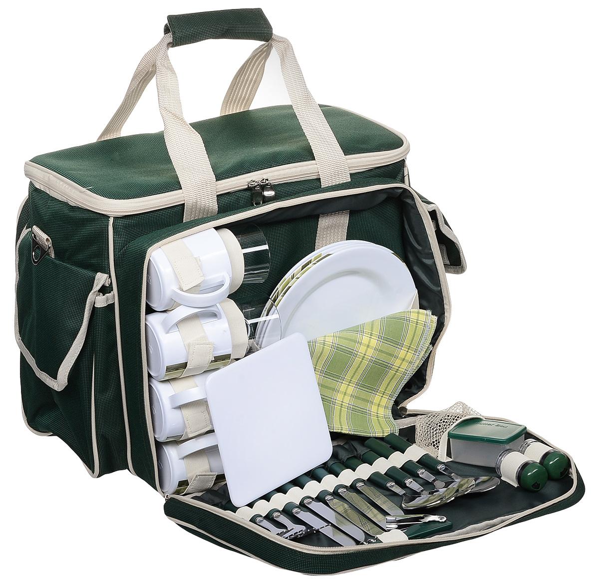 Набор для пикника Green Glade, цвет: зеленый, бежевый, на 4 персоны, 35 предметов. T31347003Набор для пикника Green Glade рассчитан на 4 персоны. Предметы набора хранятся во вместительном отделении удобной сумки с регулируемой лямкой и ручками. У сумки одно большое отделение с термоизоляционным слоем. Также имеются три вместительных кармашка. Все предметы набора надежно фиксируются внутри сумки специальными эластичными фиксаторами. В набор входит: - изотермическая сумка-холодильник: 1 шт, объем: 30 л, размер 48 см х 36 см х 33 см, - ножи: 4 шт, длина 20,5 см, - вилки: 4 шт, длина 19 см, - ложки: 4 шт, длина 19 см, - стаканы пластиковые: 4 шт, объем: 250 мл, - чашки пластиковые: 4 шт, объем: 250 мл, - тарелки пластиковые: 4 шт, диаметр 22,5 см, - салфетки хлопковые: 4 шт, - солонка: 1 шт, - перечница: 1 шт, - складной нож со штопором и открывалкой: 1 шт, длина16,5 см, - нож для сыра/масла: 1 шт, длина 19 см, - емкость для сыра/масла: 1 шт, размер 7,5 см х 6 см х 3,5 см, - пластиковая разделочная доска: 1 шт, размер 15 см х 15 см х 0,5 см.Набор для пикника Green Glade обеспечит полноценный отдых на природе для большой компании или семьи. Сумка холодильник поможет сохранить свежесть ваших продуктов до 12 часов (при использовании аккумулятора холода).