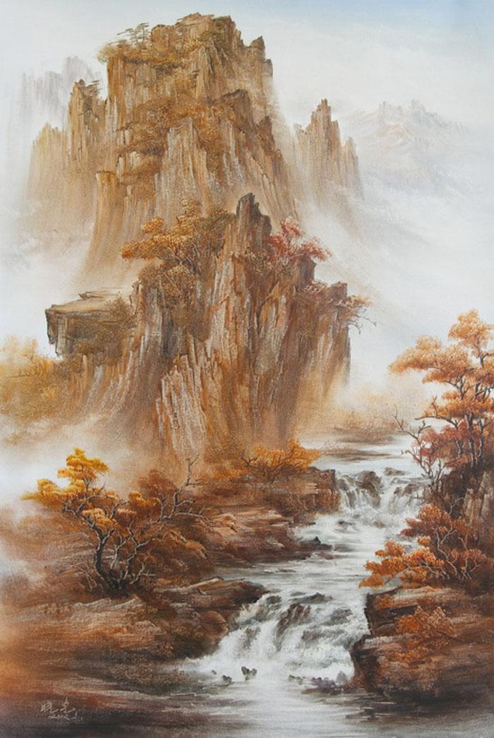 Картина Осень. Холст, масло. 90х60 смАРТ 01606024Ким Константин разработал авторскую технику для картин в жанре шань шуй (горы и вода). Вода в движении наиважнейший элемент философии Фен шуй. Водопады очень популярны в Фен шуй, так как они несут с собой энергию воды, а вода является символом богатства и процветания.Гора в Фен шуй является символом равновесия, стабильности и опоры.Картины автора хорошо подходят для интерьеров в стиле шинуазри и в японском минимализме.
