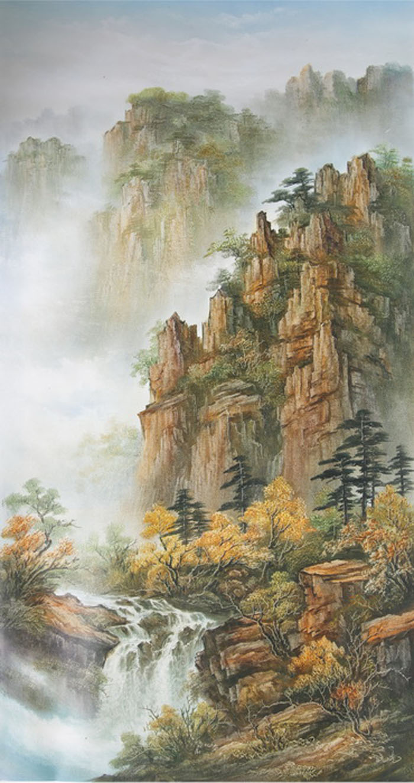 Картина Осень. Холст, масло. 120х60 смV-318Ким Константин разработал авторскую технику для картин в жанре шань шуй (горы и вода). Вода в движении наиважнейший элемент философии Фен шуй. Водопады очень популярны в Фен шуй, так как они несут с собой энергию воды, а вода является символом богатства и процветания.Гора в Фен шуй является символом равновесия, стабильности и опоры.Картины автора хорошо подходят для интерьеров в стиле шинуазри и в японском минимализме.