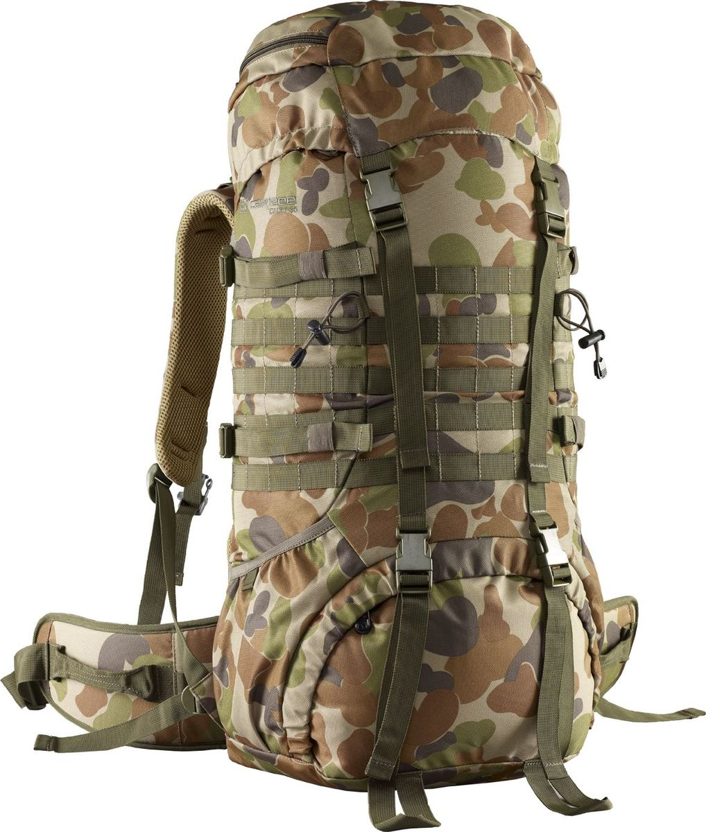 Рюкзак туристический Caribee Cadet, 65 л6940Рюкзак Caribee Cadet - трекинговый рюкзак для различных видов путешествий, выполнен в военном стиле. Особенности модели:- спинка изделия изготовлена по системе AirFlo, которая позволяет воздуху свободно циркулировать между спиной и каркасной системой;- широкий фиксирующий разгрузочный пояс, позволяющий снизить нагрузку на позвоночник, оснащен петлями для крепления дополнительного оборудования;- предусмотрена возможность регулировки лямочной системы;- нагрудная стяжка оснащена сигнальным свистком.