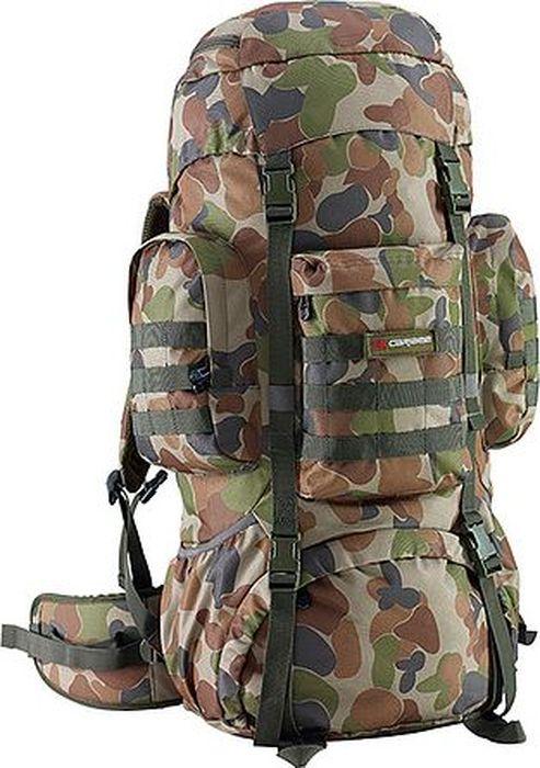 Рюкзак туристический Caribee Platoon, 70 л6942Рюкзак Caribee Platoon - трекинговый рюкзак для различных видов путешествий, выполнен в военном стиле. Особенности модели:- спинка рюкзака имеет удобное строение и мягкую обивку;- имеет 3 внешних кармана на молнии, нижнее отделение на молнии для хранения с внутренним разделителем;- лямки S-образной формы можно адаптировать под рост за счет подвесной системы;- главное отделения рюкзака вмещает документы формата А4;- материал устойчив к перепадам температуры и света, ультрафиолета и влаги.