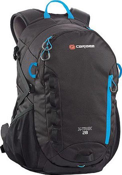 Рюкзак Caribee X-Trek, цвет: черный, синий, 28 л6382Рюкзак Caribee X-Trek идеально подходит для походов и отдыха на свежем воздухе. Особенности модели:- имеет два объемных внутренних отделения,- рюкзак оснащен мягкой регулируемой лямочной системой,- компрессионная система и фиксирующий нагрудный ремень для плотной посадки рюкзака на спине,- спинка изделия изготовлена по системе AirFlow, которая позволяет воздуху свободно циркулировать,- рюкзак имеет вместительное основное отделение на молнии,- в переднем кармане расположен удобный органайзер,- дополнительно рюкзак оснащен плоским карманом на передней панели рюкзака, боковыми карманами, потайным карманом на молнии и ручкой для переноски,- к рюкзаку можно прикрепить фонарик для езды на велосипеде в темноте,- он совместим с питьевой системой,- материал рюкзака устойчив к разрывам, истиранию, попаданию влаги, хорошо чистится.