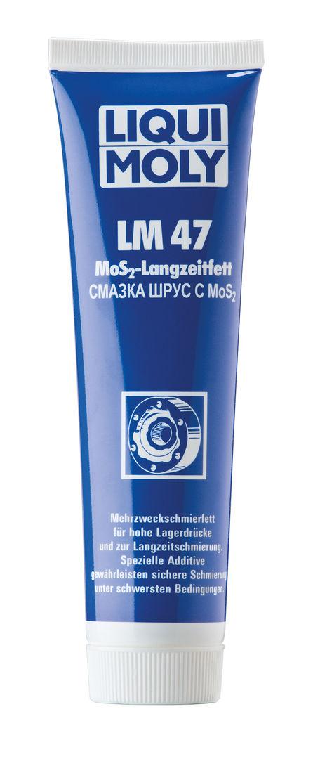 Смазка Liqui Moly LM 47 Langzeitfett + MoS2, с дисульфидом молибдена, 100 гS03301004Темно-серая консистентная смазка Liqui Moly LM 47 Langzeitfett + MoS2 второго класса NLGI для первичной и регулярной смазки высоконагруженных деталей автомобилей, инструментов, механизмов и сельскохозяйственных машин. Таких как подшипники качения и скольжения, шлицевые валы, резьбы, шарниры равных угловых скоростей (ШРУС), используемые в приводах ведущих колес самоходной техники. Хорошо воспринимает высокие ударные нагрузки и скорости вращения. Стойка к воздействию воды. Температурный диапазон использования от -30°С до +125°С.Особенности:Эффективно смазывает, значительно снижает трение, увеличивает ресурс агрегатов.Защищает от задира.Отлично держится на поверхности.Устойчива к вымыванию горячей и холодной водой.Предотвращает рывки и вибрации.Выдерживает высокие давления.Обеспечивает отличные смазывающие и разделяющие свойства.Применяется в широком диапазоне температур.Серо-черного цвета.Основа: минеральное масло.Товар сертифицирован.