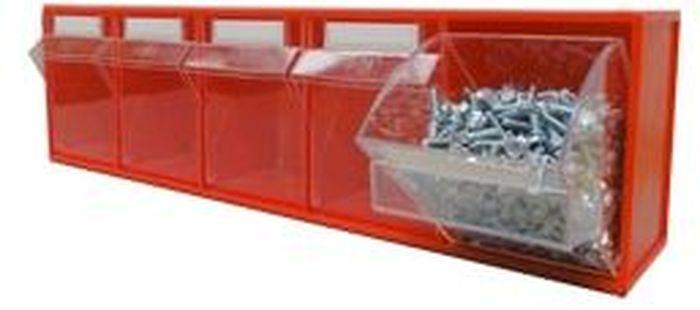 Короб откидной Стелла FOX-103, цвет: красный, прозрачный, 5 ячеек, 60 х 13,5 х 16,4 смSU-506Короб серии FOX-3 предназначен для хранения мелкоштучных изделий.Габаритные размеры (Д х Ш х В): 600 х 135 х 164 мм. Короб серии FOX-3 представляет собой кассету длиной 600 мм с пятью откидными коробами. Размер откидного короба 106 х 98 х 147/107 мм (Ш х Г х В).Стандартный цвет наружной кассеты – красный, откидной короб – прозрачный.При необходимости прозрачный короб можно извлечь из кассеты. Прозрачный внутренний короб изготовлен из полистирола с добавлением специальных эластичных добавок, что позволяет коробу избежать хрупкости и значительно увеличить несущие нагрузки.Универсальная наружная кассета длиной 600 мм позволяет комбинировать короба серии FOX разных размеров в специальные системы хранения, которые могут быть настольными, настенными, напольными, передвижными и на основе закрытых шкафов.