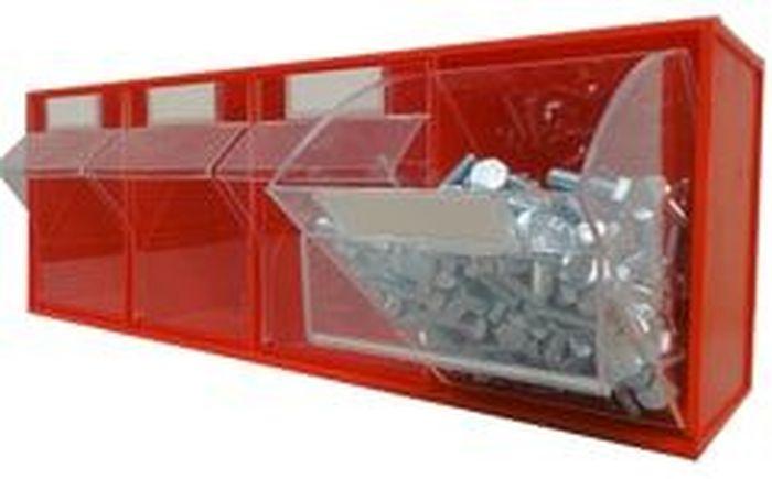 Короб откидной Стелла FOX-104, цвет: красный, прозрачный, 4 ячейки, 60 х 17,7 х 20,6 смRC-100BWCКороб серии FOX-4 предназначен для хранения мелкоштучных изделий.Габаритные размеры (Д х Ш х В): 600 х 177 х 206 мм. Короб серии FOX-4 представляет собой кассету длиной 600 мм с четырьмя откидными коробами. Размер откидного короба 134 х 126 х 188/136 мм (Ш х Г х В).Стандартный цвет наружной кассеты – красный, откидной короб – прозрачный.При необходимости прозрачный короб можно извлечь из кассеты. Прозрачный внутренний короб изготовлен из полистирола с добавлением специальных эластичных добавок, что позволяет коробу избежать хрупкости и значительно увеличить несущие нагрузки. Универсальная наружная кассета длиной 600 мм позволяет комбинировать короба серии FOX разных размеров в специальные системы хранения, которые могут быть настольными, настенными, напольными, передвижными и на основе закрытых шкафов.