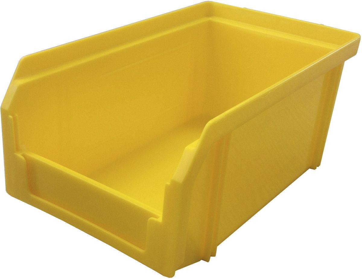 Ящик пластиковый Стелла V-1, цвет: желтый, 17,1 х 10,2 х 7,5 смV-1 желтыйПластиковый ящик Стелла V-1 широко применяется для организации мест хранения мелких деталей, различных комплектующих и запасных частей различных узлов и агрегатов. Передняя стенка имеет возможность наращивания для увеличения объема ящика. Специальный карман на лицевой части позволяет размещать ярлык с описанием ассортимента хранящихся мелочей для более быстрого поиска необходимого контейнера.Особенности:Объем 1 литр. Специальные рукоятки для захвата и перемещения. Возможность установки до 30 ящиков в высоту. Материал изделия - ударопрочный пластик.