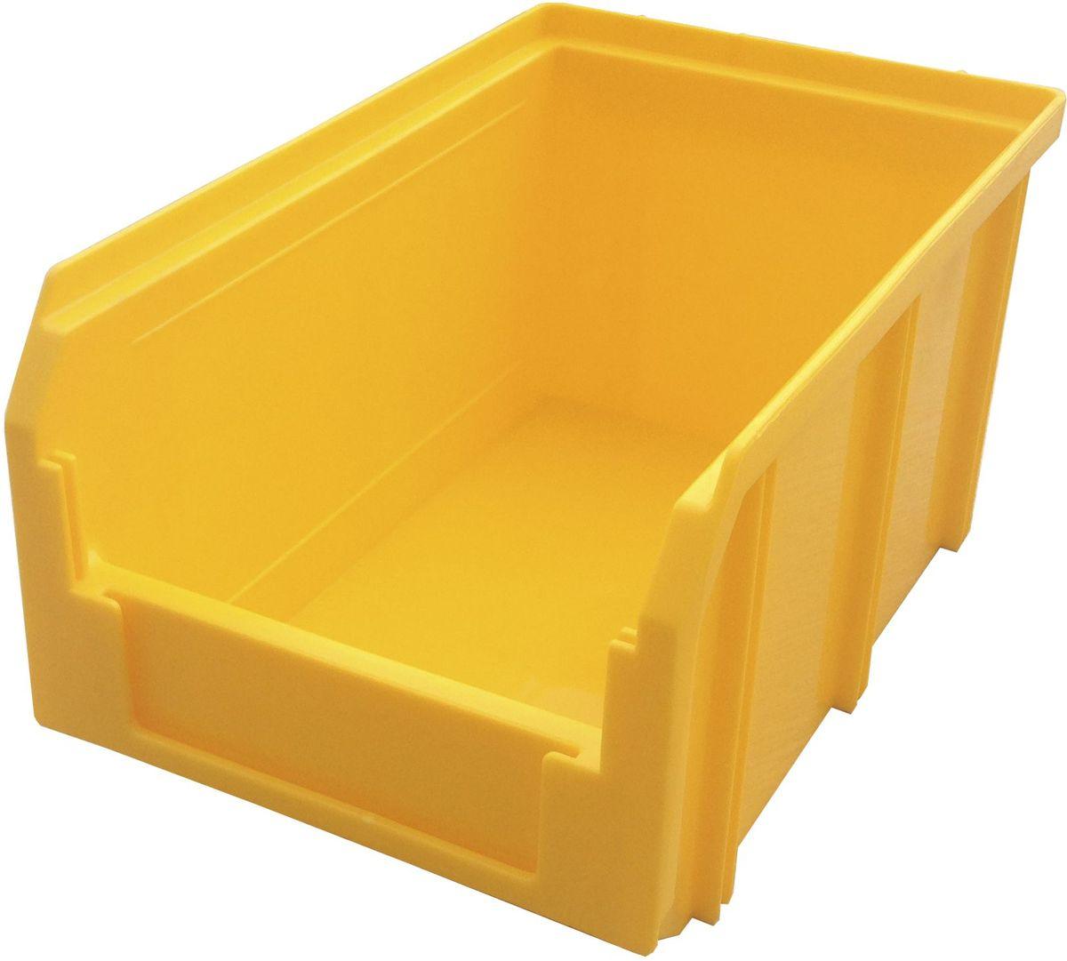 Ящик пластиковый Стелла V-2, цвет: желтый, 12,1 х 14,9 х 23,4 смCA-3505Пластиковый ящик V-2 (234 х 149 х 121 мм) применяется на складах для организации мест хранения для различных мелочей, например: деталей, заготовок, комплектующих, крепежа, запчастей и многого другого. Ящик отличается высоким уровнем износостойкости, он полностью выполнен из ударопрочного материала - полипропилена. Для быстрой идентификации нужного ящика в передней стенке предусмотрен карман для ярлыка с описанием содержимого.Вес, кг: 0,30. Габариты, мм: 234 x 149 x 121. Объем 3,8 л. Возможность штабелирования контейнеров друг на друга. Удобные рукоятки. Наличие зацепа для размещения на стойке.