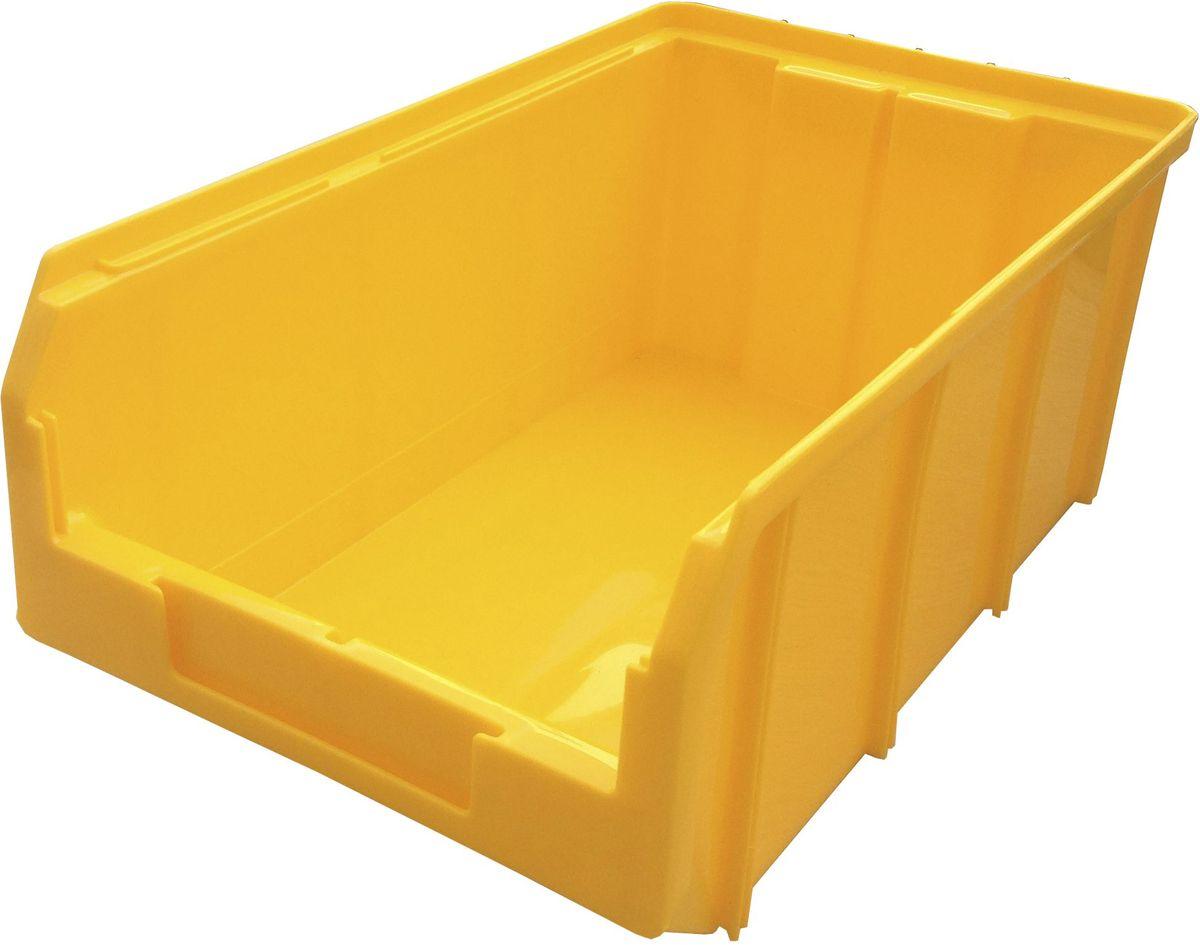 Ящик пластиковый Стелла V-3, цвет: желтый, 14,3 х 20,7 х 34,1 смMC2Пластиковый ящик V-3 (341 х 207 х 143 мм) используется на складах для хранения мелких предметов. Лоток имеет возможность наращивания передней стенки и размещения дополнительных разделительных перегородок. Карман на лицевой панели, где можно разместить быстросменный ярлык с информацией.Вес, кг: 0,60. Габариты, мм: 341 x 207 x 143. Объем 9,4 л. Удобные ручки для транспортировки. Дополнительные ребра жесткости на боковых стенках. Материал - ударопрочный пропилен. Возможность штабелирования контейнеров друг на друга в высоту. Зацеп на задней стенке контейнера позволяет прочно фиксировать его на специальных стойках.