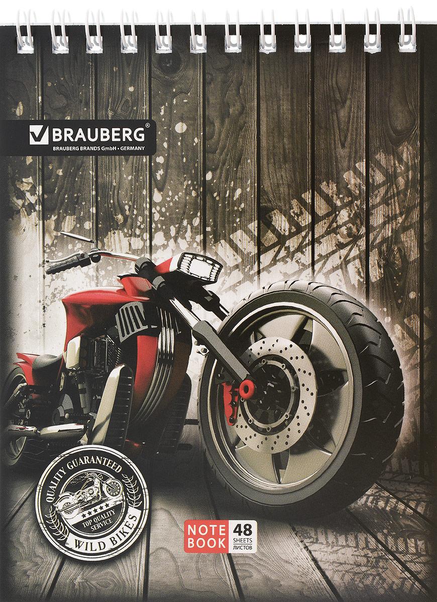 Brauberg Блокнот Мотоциклы 48 листов в клетку цвет красный72523WDБлокнот Brauberg на металлическом гребне в картонной обложке предназначен для фиксации необходимых заметок.Внутренний блок состоит из высококачественного офсета в клетку.