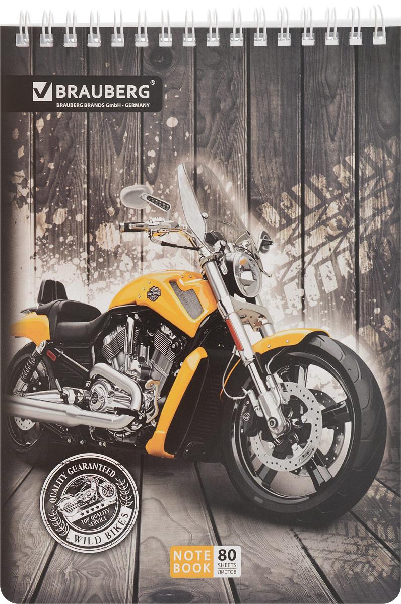 Brauberg Блокнот Мотоциклы 80 листов в клетку цвет желтый3261Блокнот Brauberg Мотоциклы - незаменимый атрибут современного человека, необходимый для рабочих и повседневных записей в офисе и дома.Обложка блокнота выполнена из картона. Внутренний блок состоит из 80 листов белой офсетной бумаги. Стандартная линовка в голубую клетку. Листы блокнота соединены металлическим гребнем. Страницы блокнота дополнены микроперфорацией для удобного отрыва листов.