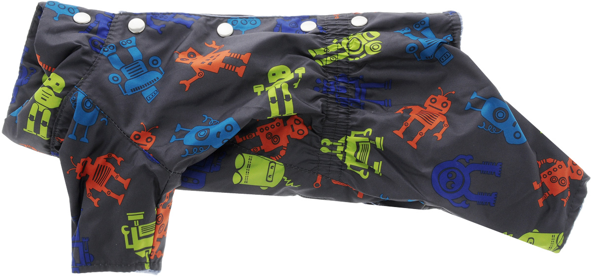 Комбинезон Yoriki Робот, мужской. Размер MMOS-016-colors-S_темно-синийТеплый комбинезон для собак Yoriki Робот отлично защитит вашего питомца в холодную погоду от осадков и ветра. Комбинезон изготовлен из водоотталкивающего полиэстера и оформлен оригинальным принтом. Подкладка из искусственного меха сохранит тепло и обеспечит уют во время зимних прогулок. Модель застегивается металлическими кнопками и дополнена утягивающей эластичной резинкой в поясе. Благодаря такому комбинезону вашему питомцу будет комфортно наслаждаться прогулкой.