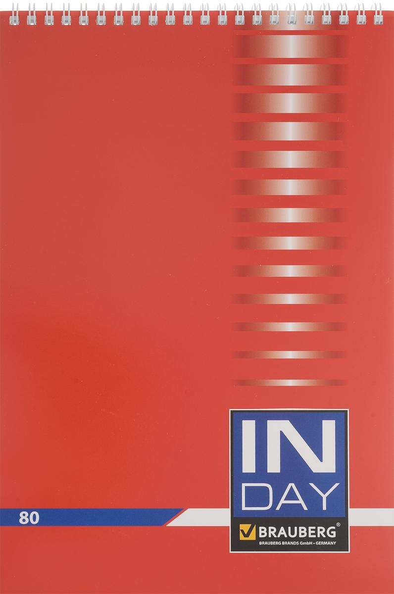 Brauberg Блокнот In Day 80 листов в клетку цвет красный72523WDБлокнот Brauberg In Day - незаменимый атрибут современного человека, необходимый для рабочих и повседневных записей в офисе и дома.Обложка выполнена из импортного мелованного картона. Нижняя жесткая обложка позволяет делать записи на весу.Внутренний блок состоит из 80 листов высококачественного офсета. Стандартная линовка в голубую клетку без полей. Листы блокнота соединены металлическим гребнем.