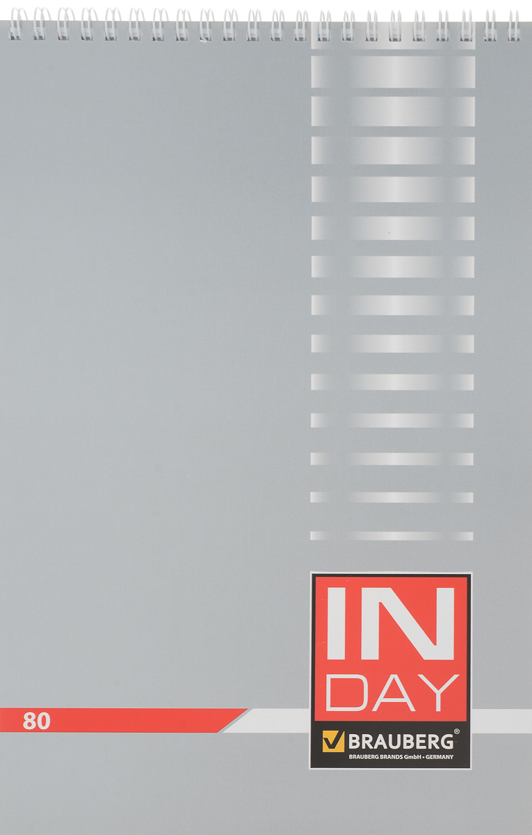 Brauberg Блокнот In Day 80 листов в клетку цвет серый72523WDБлокнот Brauberg In Day - незаменимый атрибут современного человека, необходимый для рабочих и повседневных записей в офисе и дома.Обложка выполнена из импортного мелованного картона. Нижняя жесткая обложка позволяет делать записи на весу.Внутренний блок состоит из 80 листов высококачественного офсета. Стандартная линовка в голубую клетку без полей. Листы блокнота соединены металлическим гребнем.
