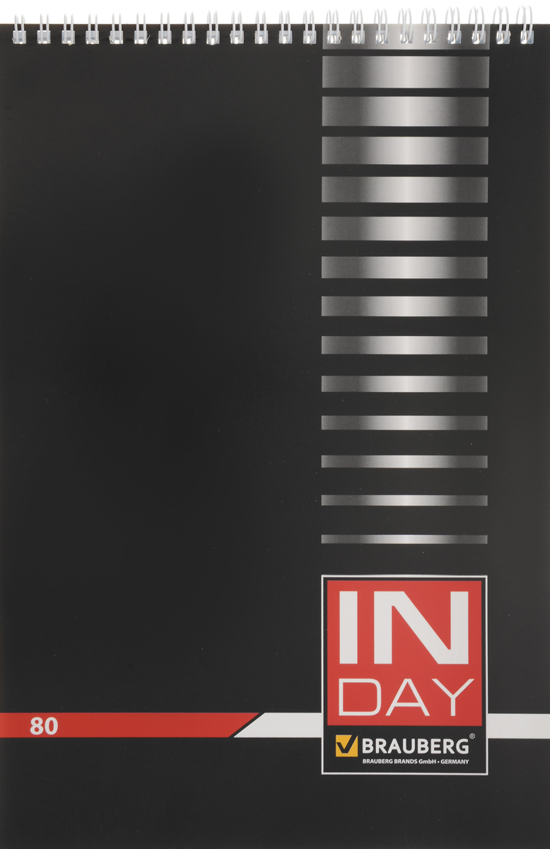 Brauberg Блокнот In Day 80 листов в клетку цвет черный4036Блокнот Brauberg In Day - незаменимый атрибут современного человека, необходимый для рабочих и повседневных записей в офисе и дома.Обложка выполнена из импортного мелованного картона. Нижняя жесткая обложка позволяет делать записи на весу.Внутренний блок состоит из 80 листов высококачественного офсета. Стандартная линовка в голубую клетку без полей. Листы блокнота соединены металлическим гребнем.