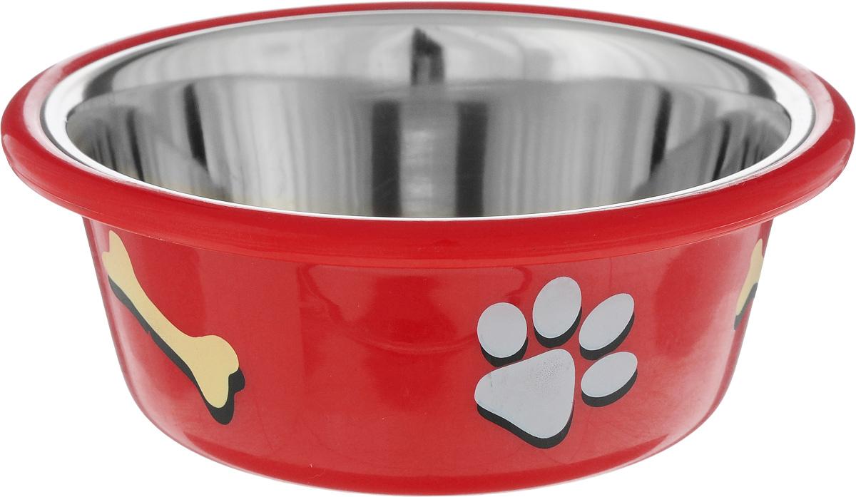 Миска для животных Nobby, цвет: красный, 400 мл73387Миска для животных Nobby - это функциональный аксессуар для вашего питомца. Изделие выполнено из металла, пластика и керамики. Миска оформлена оригинальным принтом.Она порадует удобством использования как самих животных, так и их хозяев.Диаметр дна: 8,5 см