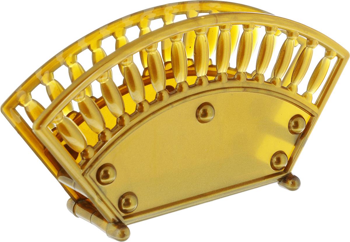 Салфетница Альтернатива, цвет: золотой, 17,5 х 4,7 х 9,5 см115510Салфетница Альтернатива изготовлена из высококачественного пластика и оформлена оригинальным рисунком. Сочетает в себе изысканный дизайн с максимальной функциональностью. Такая салфетница станет не только украшением любого стола, но и отличным подарком.