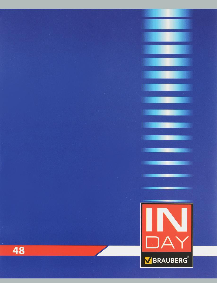Brauberg Тетрадь In Day 48 листов в клетку цвет синий 400518400518 _синийОбложка тетради Brauberg In Day выполнена из плотного картона, что позволит сохранить ее в аккуратном состоянии на протяжении всего времени использования.Внутренний блок тетради, соединенный двумя металлическими скрепками, состоит из 48 листов белой бумаги. Стандартная линовка в клетку голубого цвета дополнена полями.