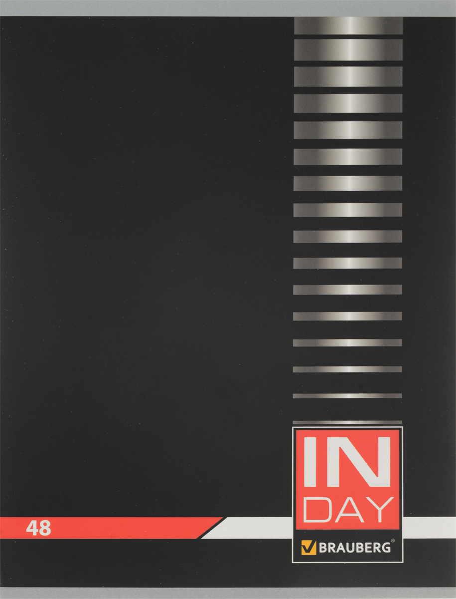 Brauberg Тетрадь In Day 48 листов в клетку цвет черный 400518401287_розовыйОбложка тетради Brauberg In Day выполнена из плотного картона, что позволит сохранить ее в аккуратном состоянии на протяжении всего времени использования.Внутренний блок тетради, соединенный двумя металлическими скрепками, состоит из 48 листов белой бумаги. Стандартная линовка в клетку голубого цвета дополнена полями.