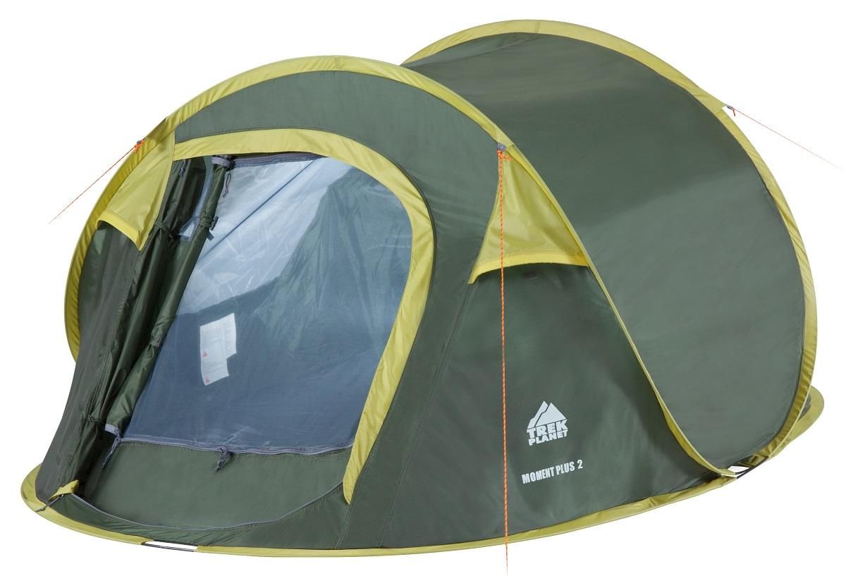 Палатка двухместная Trek Planet Moment Plus 2, цвет: темно-зеленый, светло-зеленыйKOC-H19-LEDДвухслойная двухместная палатка Trek Planet Moment Plus 2, мгновенно устанавливается!Особенности модели:Мгновенная установка;Тент палатки из полиэстера, с пропиткой PU водостойкостью 1000 мм, надежно защитит от дождя и ветра;Все швы проклеены;Внутренняя палатка, выполненная из дышащего полиэстера, обеспечивает вентиляцию помещения и позволяет конденсату испаряться, не проникая внутрь палатки;Москитная сетка на входе в спальное отделение в полный размер двери;Каркас выполнен из прочного стекловолокна;Дно изготовлено из прочного армированного полиэтилена;Вентиляционное клапана по периметру палатки не дают скапливаться конденсату на стенках палатки;Внутренние карманы для мелочей;Для удобства транспортировки и хранения предусмотрен чехол с двумя ручками, закрывающийся на застежку-молнию.Размер в сложенном виде: 80 см х 20 см х 10 см.