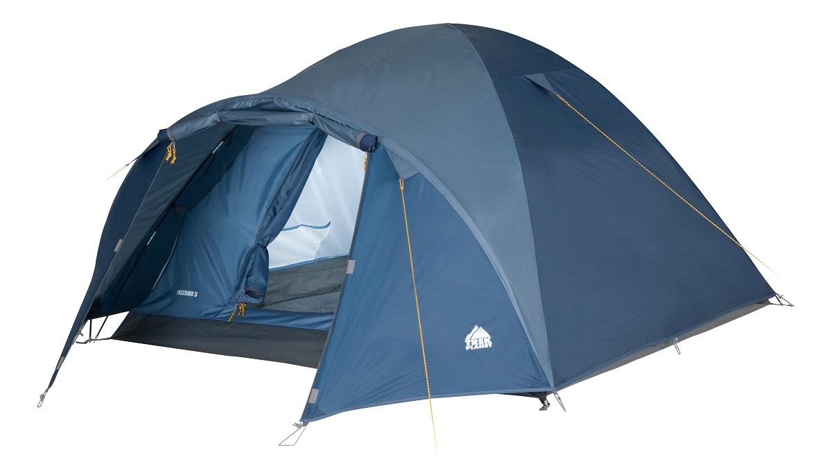 Палатка трехместная Trek Planet Palermo 3, цвет: синийKOCAc6009LEDДвухслойная трехместная палатка куполообразной формы с вместительным тамбуром Trek Planet Palermo 3 - отлично подойдет для похода или путешествия. Особенности модели: Палатка легко и быстро устанавливается, Тент палатки из полиэстера, с пропиткой PU водостойкостью 3000 мм, надежно защитит от дождя и ветра, Все швы проклеены, Внутренняя палатка, выполненная из дышащего полиэстера, обеспечивает вентиляцию помещения и позволяет конденсату испаряться, не проникая внутрь палатки, Москитная сетка на входе в спальное отделение в полный размер двери, Вентиляционный клапан, Каркас выполнен из прочного стеклопластика, Дно изготовлено из прочного армированного полиэтилена, Внутренние карманы для мелочей, Возможность подвески фонаря в палатке. Палатка упакована в сумку-чехол с ручками, застегивающуюся на застежку-молнию.Размер в сложенном виде:63 см х 18 см х 18 см.