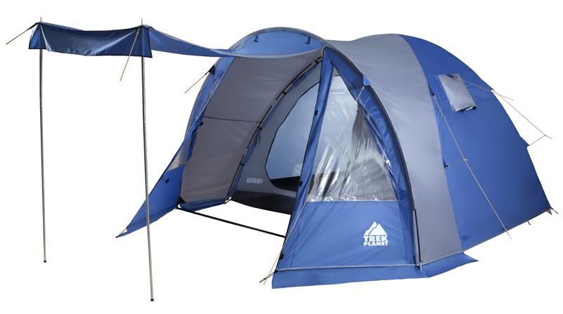 Палатка пятиместная TREK PLANET Ventura Air 5, цвет: синий, серый70232Пятиместная двухслойная классическая палатка TREK PLANET Ventura Air 5 с вместительным светлым тамбуром, обзорными окнами и двумя входами во внутреннюю палатку с противоположных сторон.Особенности модели:- Тент палатки из полиэстера с пропиткой PU надежно защищает от дождя и ветра; - Все швы проклеены;- Высокий, вместительный и светлый тамбур;- Обзорное окно со шторкой во внутреннем помещении;- Дно из прочного водонепроницаемого армированного полиэтилена позволяет устанавливать палатку на жесткой траве, песчаной поверхности, глине и т.д.;- Дуги из прочного стеклопластика;- Внутренняя палатка из дышащего полиэстера, обеспечивает вентиляцию помещения и позволяет конденсату испаряться, не проникая внутрь палатки;- Два входа во внутреннюю палатку с противоположных сторон тента;- Вентиляционные окна в спальном отделении; - Москитная сетка на каждом входе в палатку в полный размер двери;- Внутренние карманы для мелочей во внутренней палатке;- Возможность подвески фонаря в палатке.Для удобства транспортировки и хранения предусмотрен чехол из прочного полиэстера OXFORD, с двумя ручками и закрывающийся на застежку-молнию.