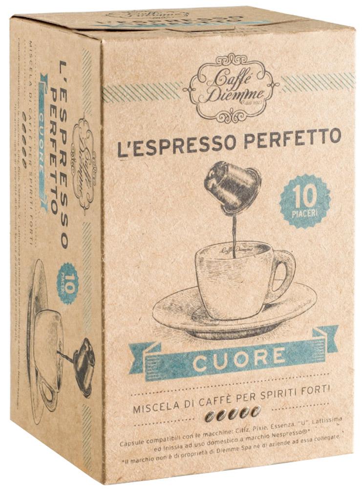 Diemme Caffe Cuore кофе в капсулах, 10 шт476746Кофе в капсулах Diemme Caffe Cuore - кофе без кофеина от Diemme Caffe создан специально для тех, кто хочет насладиться восхитительным эспрессо, но при этом предпочитает декофеинированный кофе.