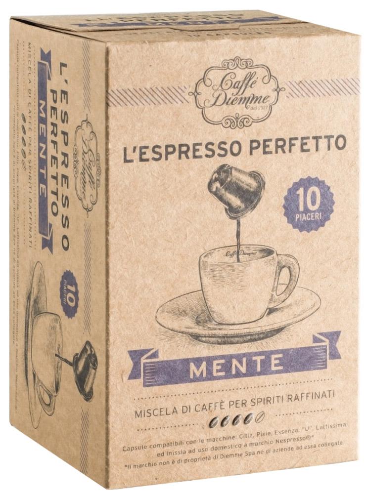 Diemme Caffe Mente кофе в капсулах, 10 шт476722Diemme Caffe Mente наиболее изысканный аромат. Мудрое и гармоничное сочетание зерен различных сортов создало смесь с насыщенным и многогранным вкусом, способную удовлетворить запросы самых требовательных любителей и гурманов. Это достойный вариант для утонченных натур.Уважаемые клиенты! Обращаем ваше внимание на то, что упаковка может иметь несколько видов дизайна. Поставка осуществляется в зависимости от наличия на складе.