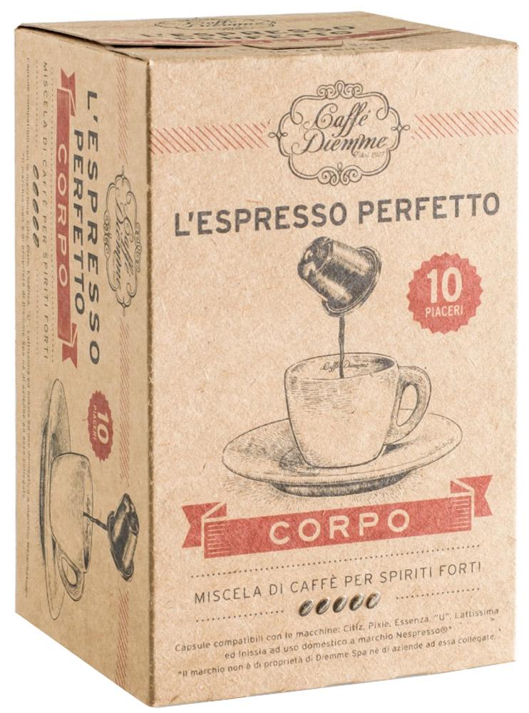 Diemme Caffe Corpo кофе в капсулах, 10 шт476722Кофе в капсулах Diemme Caffe Corpo - смесь из лучших сортов Арабики и Робусты с плантаций Центральной Америки и Азии характерна ярким ароматом и долгим послевкусием.